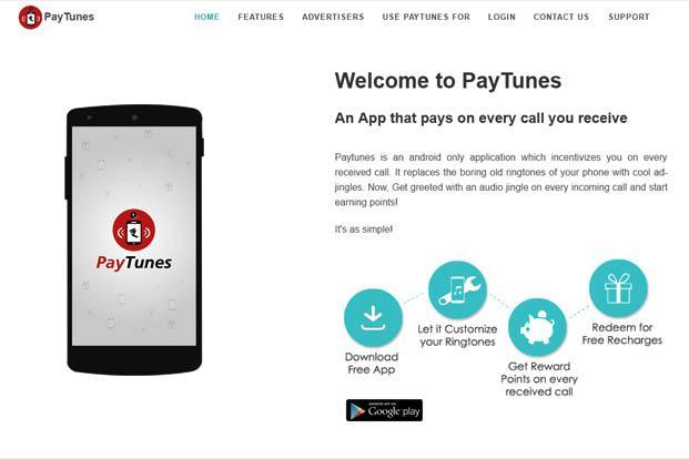 A screen grab of Paytunes website.