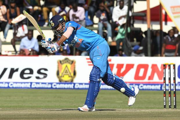 Lokesh Rahul plays a shot during the ODI match against Zimbabwe in Harare on Saturday.  Photo: AP