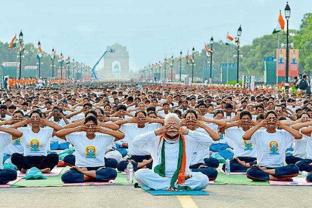 Prime Minister Narendra Modi led last year's celebration at Rajpath, Delhi. Photo: Vijay Kumar/PIB