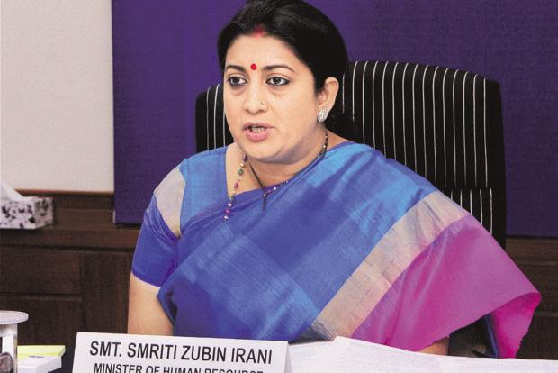 HRD minister Smriti Irani said permission to open off-campus centres will only be given to highest ranked deemed universities. Photo: PTI