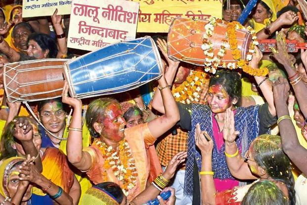 Women celebrating after the partial ban on sale of liquor in Bihar. Photo: AP Dube/Hindustan Times