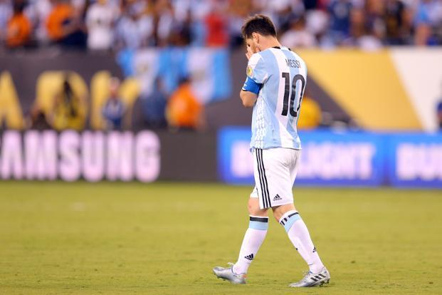 Argentina's Lionel Messi after missing a penalty kick in the 2016 Copa America Centenario final. Photo: Reuters/USA TODAY Sports