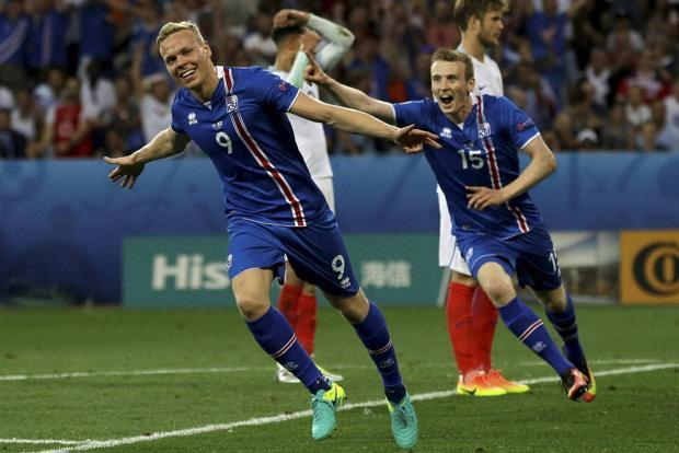 Within 18 minutes into the match, Iceland's Kolbeinn Sigþórsson would score the goal that would register the biggest win in their footballing history, and send England out of the Euros. Photo: AP