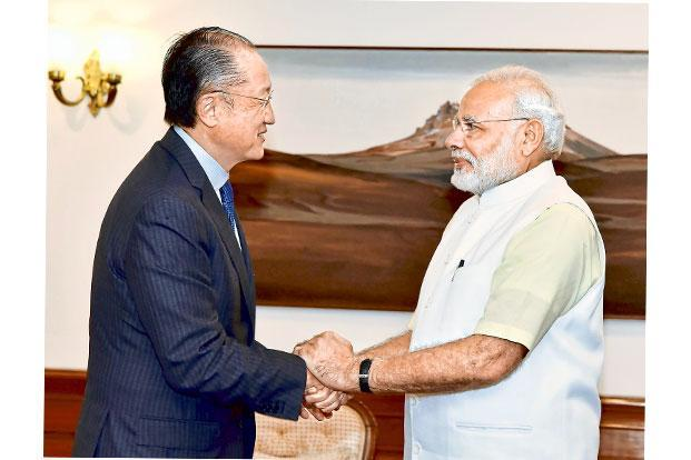 World Bank president Jim Yong Kim with Prime Minister Narendra Modi. Photo: AFP/PIB
