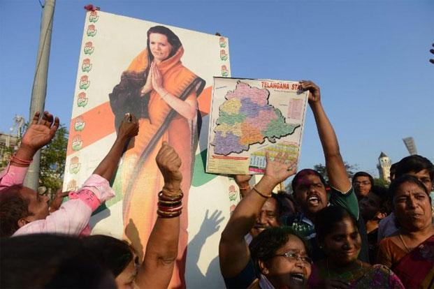 The bifurcation of Andhra Pradesh proved catastrophic for the Congress in the new state of Telangana and cataclysmic in the new state of Andhra Pradesh. Photo: AFP