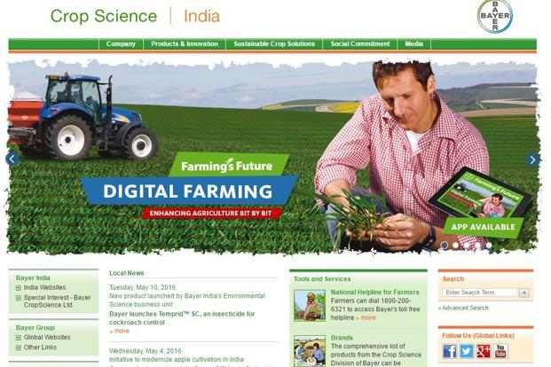 A screen grab of Bayer CropScience website.