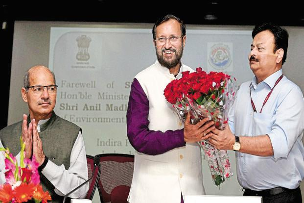 New HRD minister Prakash Javadekar (centre). Photo: PTI