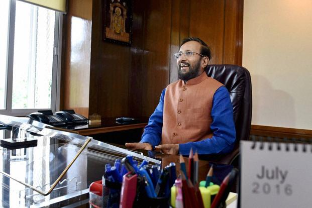 Prakash Javadekar was given the charge of the HRD ministry after Tuesday's cabinet reshuffle. Photo: PTI