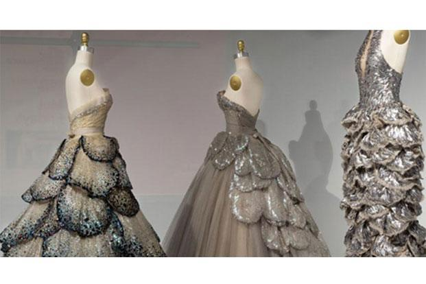 Haute couture from the House of Dior; and a prêt dress (right) by Sarah Burton for Alexander McQueen