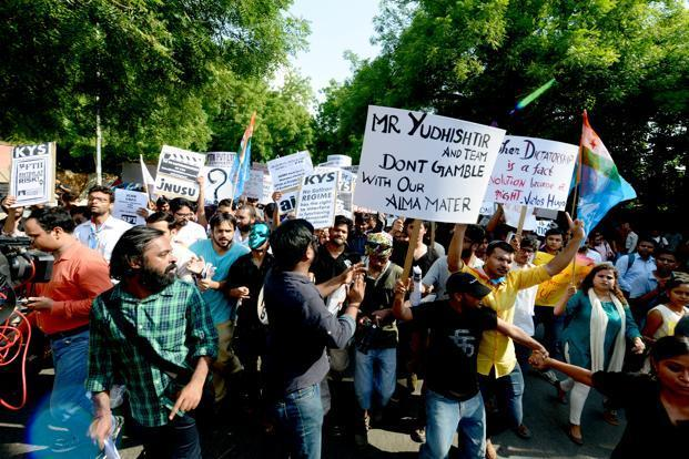 A file photo of students protesting against the appointment of Gajendra Chauhan as chairman of the Film and Television Institute of India (FTII). Photo: Ramesh Pathania/Mint