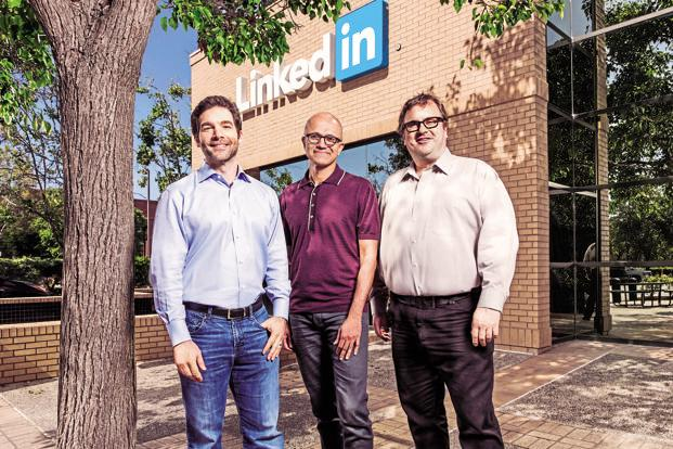 (From left) LinkedIn CEO Jeff Weiner, Microsoft CEO Satya Nadella, and LinkedIn chairman and co-founder Reid Hoffman.