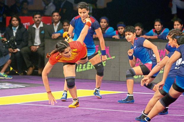 Mamatha Poojary (in red) at the Women's Kabaddi Challenge.