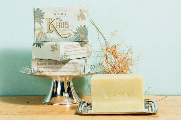 Kama's Khus soap packaging with pastel shades and detailed sketches, giving off a distinctly colonial vibe.