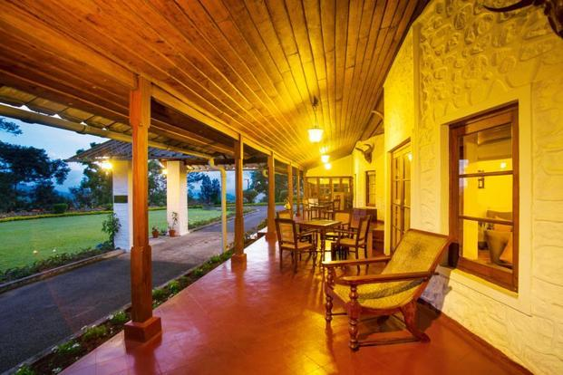 The veranda at Sinna Dorai's Bungalow overlooks the garden