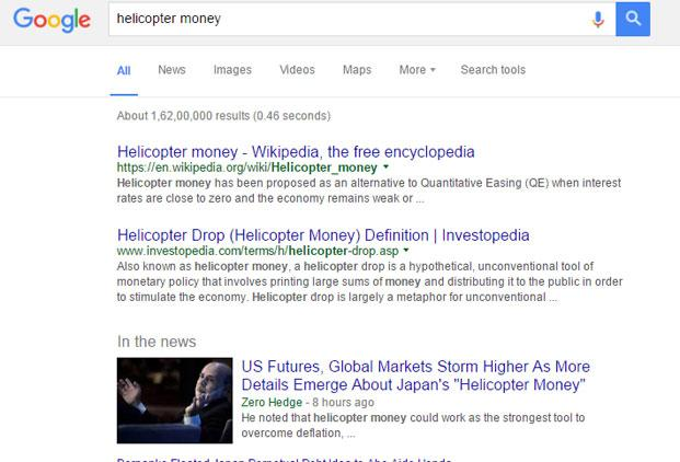 A Google search for 'helicopter money' turns up about 16 million results, showing how a once obscure theory has entered the popular policy lexicon.