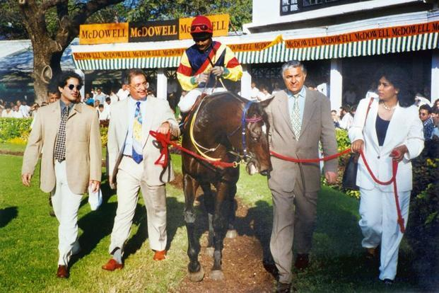 Ameeta and her father Major Pradeep Kumar Mehra (second from right) with Indictment after winning the Indian Derby in 1997. Photo: Usha Stud Farm