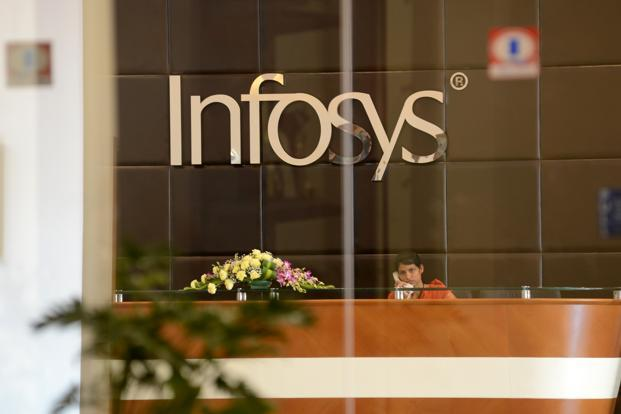 Infosys shares fell around 8% as the company forecast a 10.8-12.3% sales growth in US dollar terms for 2016-17, down from the previous forecast of 11.8-13.8%. Photo: Hemant Mishra/Mint