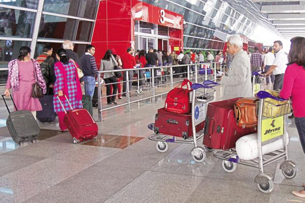 Delhi's Terminal 1, used by low-cost airlines, is choked during peak hours and has reached its capacity of 18 million passengers a year. Photo: Hindustan Times