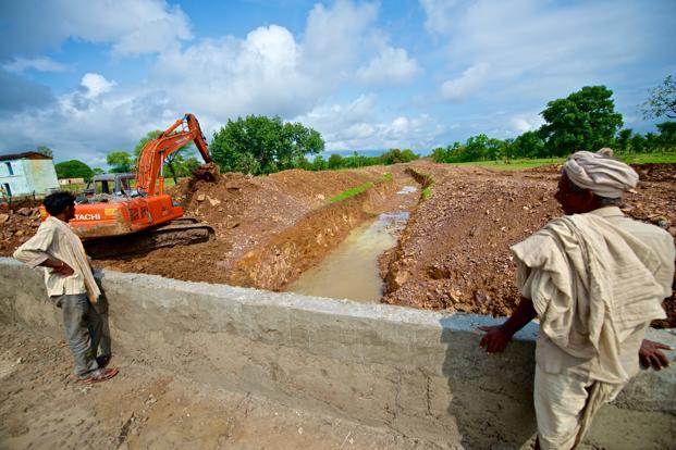 Work in progress at Harpura irrigation and river-lake link project, launched in Tikamgarh district in Madhya Pradesh in 2012.