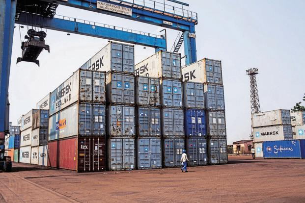 About 2.8 million twenty foot equivalent units or about 25% of India's cargo containers are currently transhipped at ports outside India.