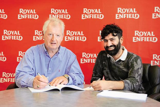 Steve Harris (left) of Harris Performance with Royal Enfield boss Siddhartha Lal.