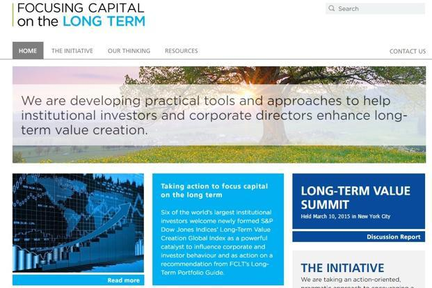A screen grab of Focusing Capital on the Long Term (FCLT) website.