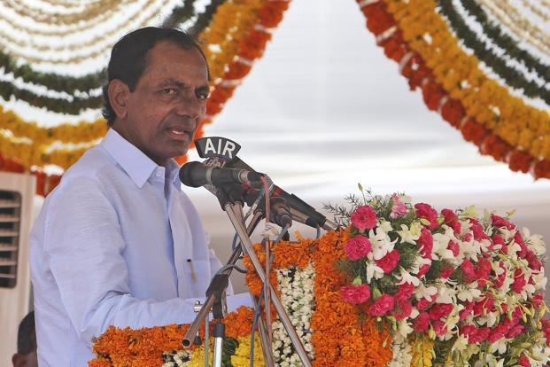 A file image of Telangana chief minister K. Chandrashekar Rao. He has asked police officials to  investigate the parents of 200 students who paid money to brokers regarding the  EAMCET paper leak case. Photo: AP