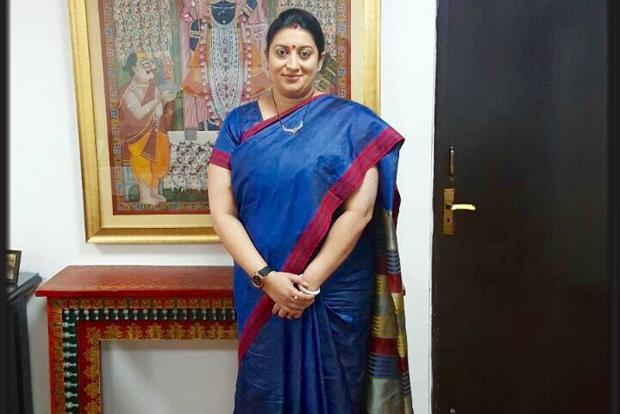 Minister of textiles, Smriti Irani, launched a social media campaign #ILoveHandloom. She wore a handloom sari, got a picture taken, tweeted it, tagging five like-minded people/organizations. Photo courtesy: @smritiirani/Twitter