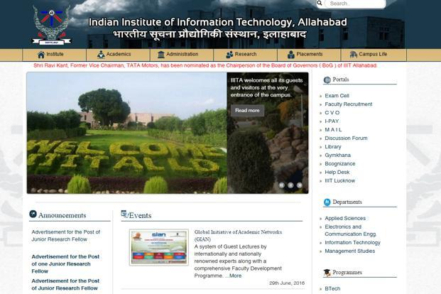 A secreen grab of IIIT Allahabad website