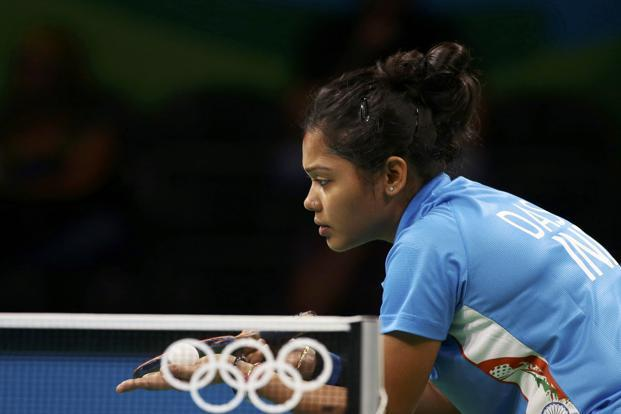 World No. 150 Mouma's challenge was lukewarm and short-lived as the Indian veteran, in her second Olympics, lost to world No. 58 Daniela Dodean Monteiro of Romania 2-11, 7-11, 7-11, 3-11. Photo: Alkis Konstantinidis/Reuters