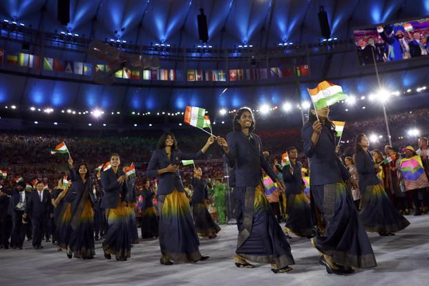 The Indian contingent at the Olympics' opening ceremony. Photo: Reuters