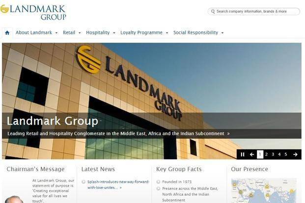 A screen grab of the Landmark Group website.