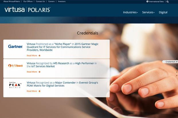 A screen grab of Polaris Consulting and Services website