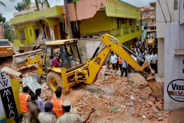 The Bruhat Bengaluru Mahanara Palike, or BBMP, has razed almost 100 buildings, including houses, hotels and shops in the city, since last Saturday. Photo: PTI