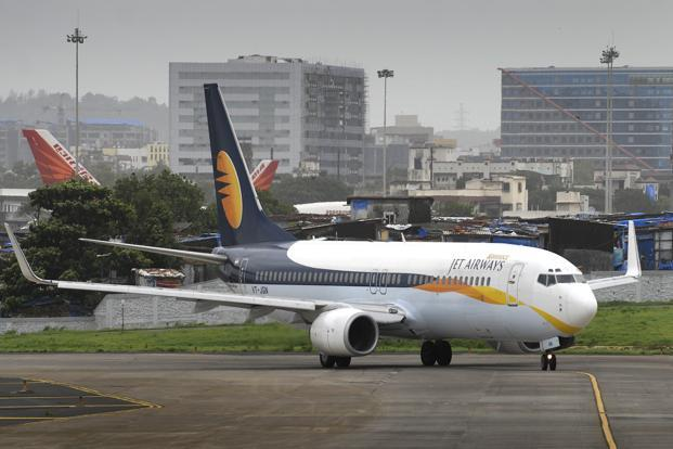 Shares of Jet Airways lost 1.01% to close at Rs541.45 per share on Friday on the BSE while the benchmark Sensex gained 1.05% to close at 28152.40 points. Photo: Abhijit Bhatlekar/Mint