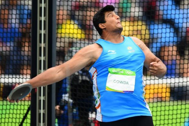 Vikas Gowda competes in the men's discus throw qualifying round during the athletics event at the Rio 2016 Olympic Games in Rio de Janeiro. Photo: AFP