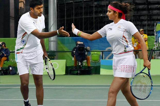 Sania Mirza, Rohan Bopanna during their match against S. Stosur and J. Peers of Australia during the 2016 Summer Olympics at Rio de Janeiro in Brazil on Thursday. Photo: PTI