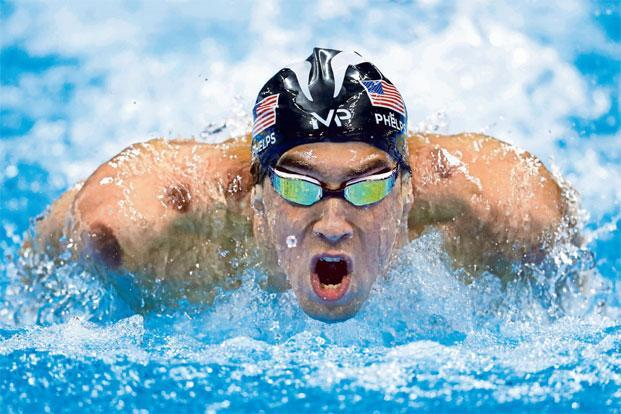 The purple circles seen on Michael Phelps' body are the result of dry cupping. Photo: Odd Andersen/AFP