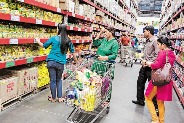 Customers at a Wal-Mart India wholesale store in Zirakpur, Chandigarh. Photo: Bloomberg