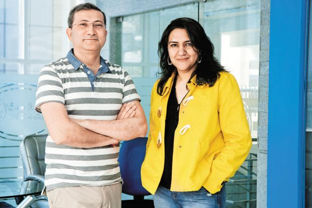 Radhika Aggarwal (right) and Sanjay Sethi, founders of Shopclues. The e-commerce firm is in the news for being a potential acquisition target for Chinese e-commerce giant Alibaba. Photo: Mint