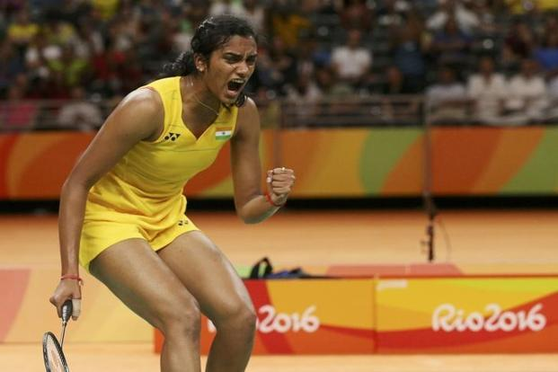 P.V. Sindhu reacts during play against Nozomi Okuhara of Japan in women's singles semifinal on 18 August 2106. Photo: Reuters