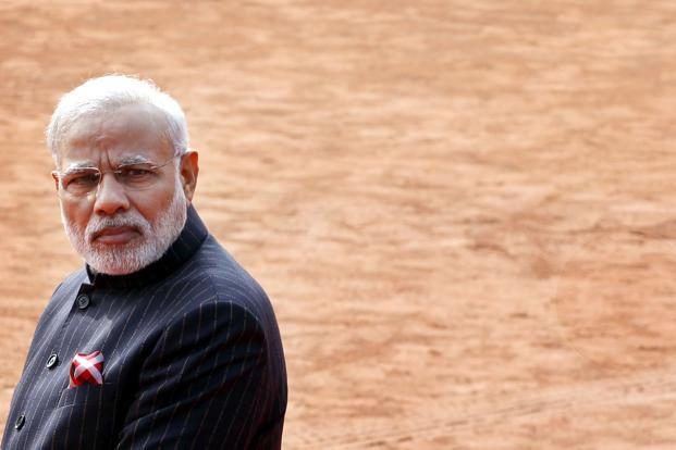 Modi's monogrammed suit was the subject of much debate in India and made headlines overseas as well as rival political parties had mocked it as an example of narcissism and extravagance in a country where many live in severe poverty. Photo: Ajay Aggarwal/HT