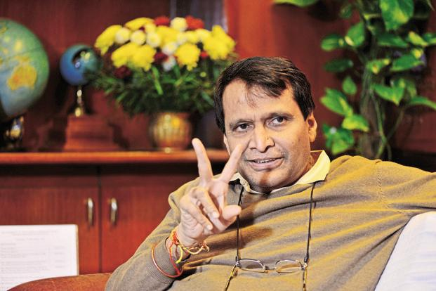 Railway minister Suresh Prabhu. The constructions of railway tracks are going to facilitate easier passenger travel and freight movement of items such as steel, coal and cement. Photo: Priyanka Parashar/Mint