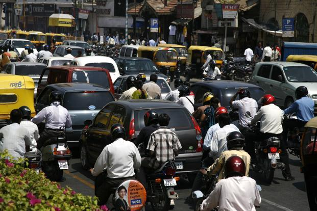 Bengaluru's traffic police say roads are bearing the burden of twice their vehicular capacity. Photo: Bloomberg