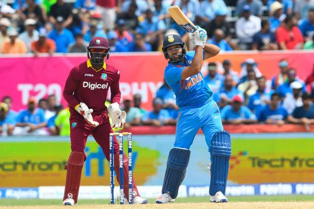 Rohit Sharma hits 6 during the 1st T20 match between West Indies and India at Central Broward Stadium in Fort Lauderdale, Florida, on Saturday. Photo: AFP