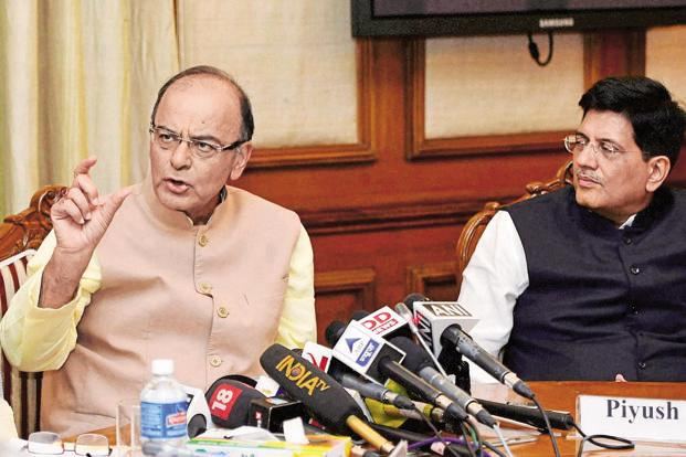 Finance minister Arun Jaitley and power minister Piyush Goyal at the inter-ministerial panel meeting on labour on Tuesday. Photo: PTI
