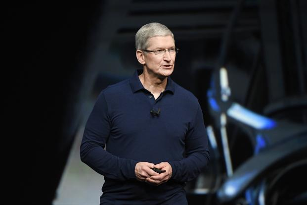 Apple chief executive officer Tim Cook speaks during an event in San Francisco on Wednesday. Photo: Bloomberg