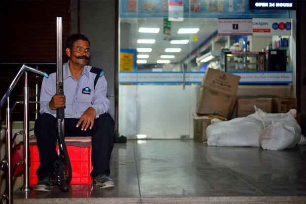 photo essay the watchmen livemint vasudev guarding a supermarket store in vasundhara ghaziabad