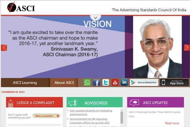 A screen grab of Advertising Standards Council of India website