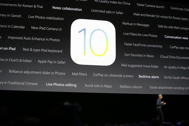 Apple senior vice president of software engineering, speaks about the new iOS 10 at the Apple Worldwide Developers Conference in the Bill Graham Civic Auditorium in San Francisco. File Photo: AP
